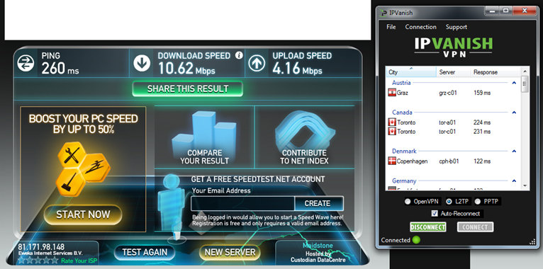 IPVanish Speed Test